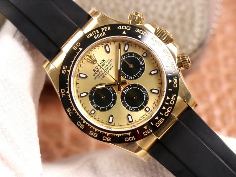 N厂劳力士复刻手表迪通拿橡胶表带黄金色陶瓷圈