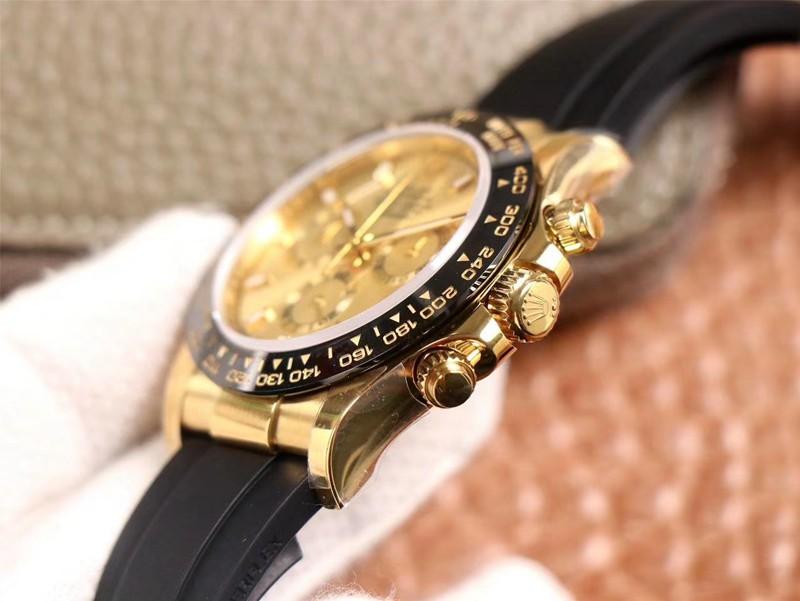 N厂高仿劳力士手表迪通拿4130橡胶表带黄金色陶瓷圈