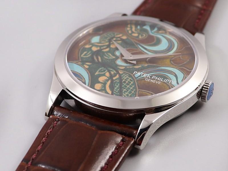 高仿百达翡丽5077P-102手表不丹六色织品微绘珐琅