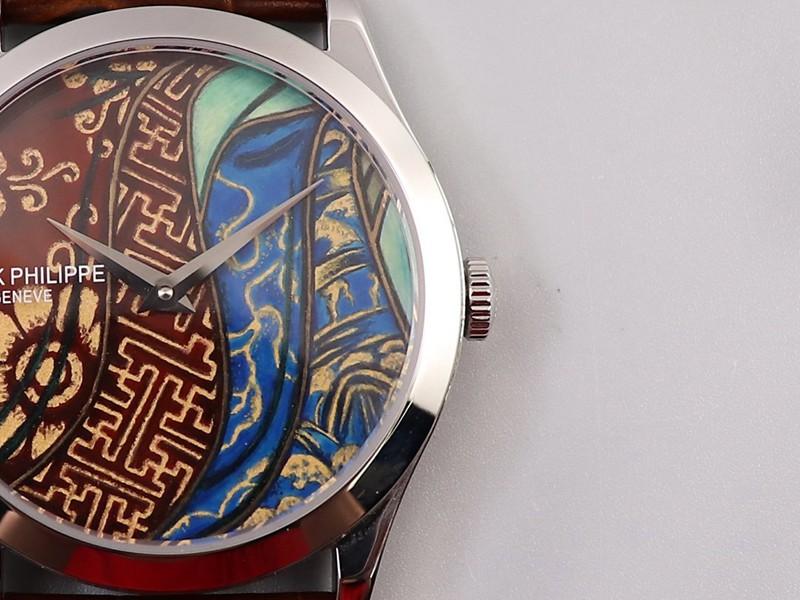百达翡丽复刻5077P-102手表不丹六色织品微绘珐琅