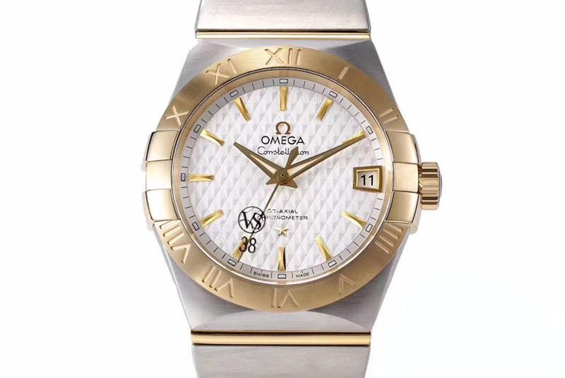高仿欧米茄黄金白盘日历vs星座气质款8500机械手表