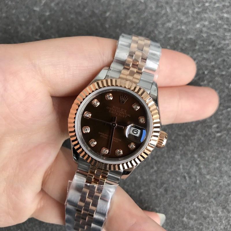 复刻劳力士手表日志女表28毫米机械虎牙圈玫瑰金咖啡色表盘钻刻度