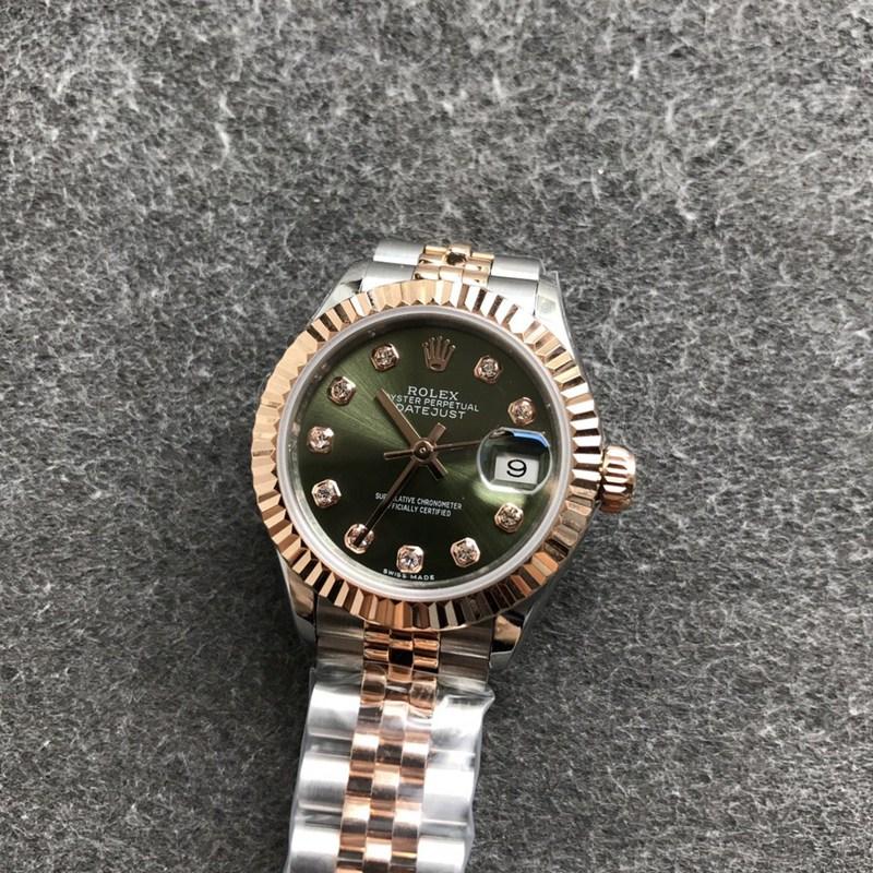 精仿劳力士女士手表日志28毫米机械虎牙圈玫瑰金绿色表盘钻刻度