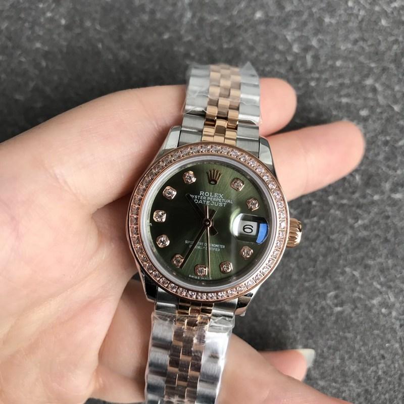 高仿劳力士女士手表日志28毫米机械虎圈钻玫瑰金绿色表盘钻刻度