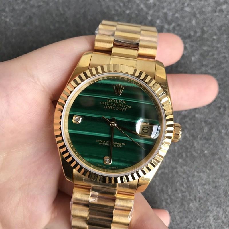劳力士复刻日志36毫米孔雀石绿色表盘男士机械手表全金色