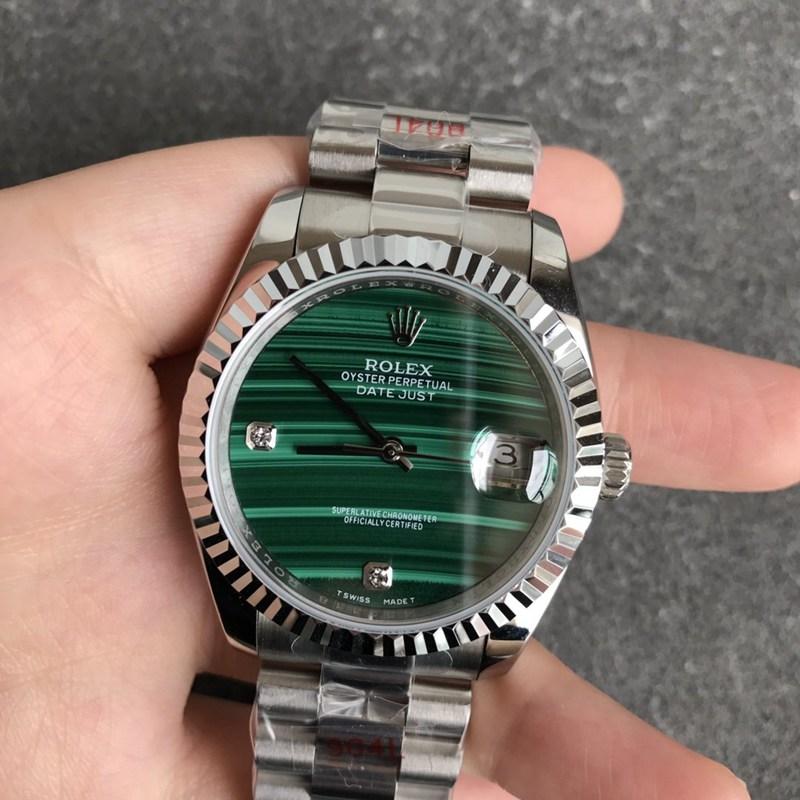 劳力士精仿日志36毫米孔雀石绿色表盘男士机械手表钻时标