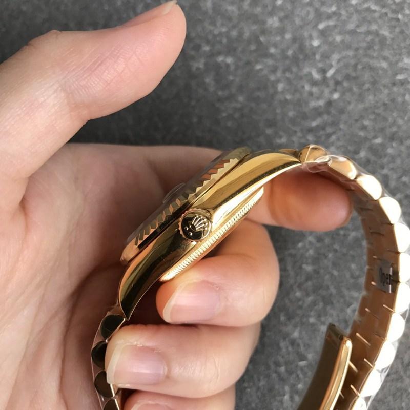 劳力士高仿日志36毫米孔雀石绿色表盘男士机械手表全金色无时标