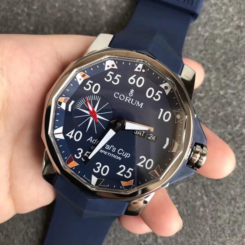 昆仑表精仿男士手表海军上将系列大直径硬汉风蓝盘