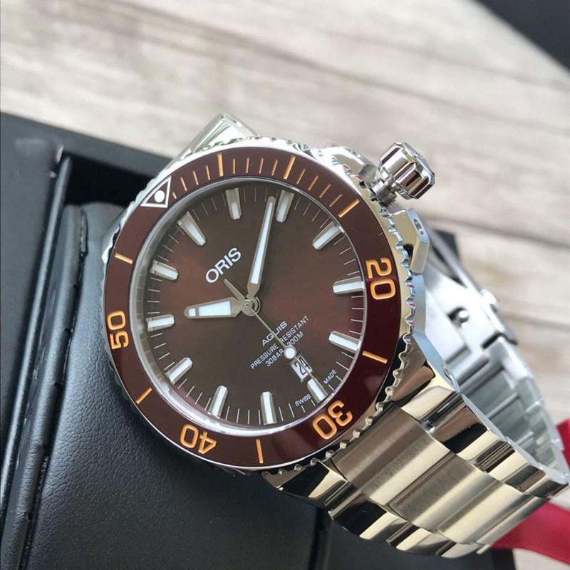 高仿豪利时潜水手表钢带款咖啡色表盘 原单顶级品质 瑞士sw200机芯
