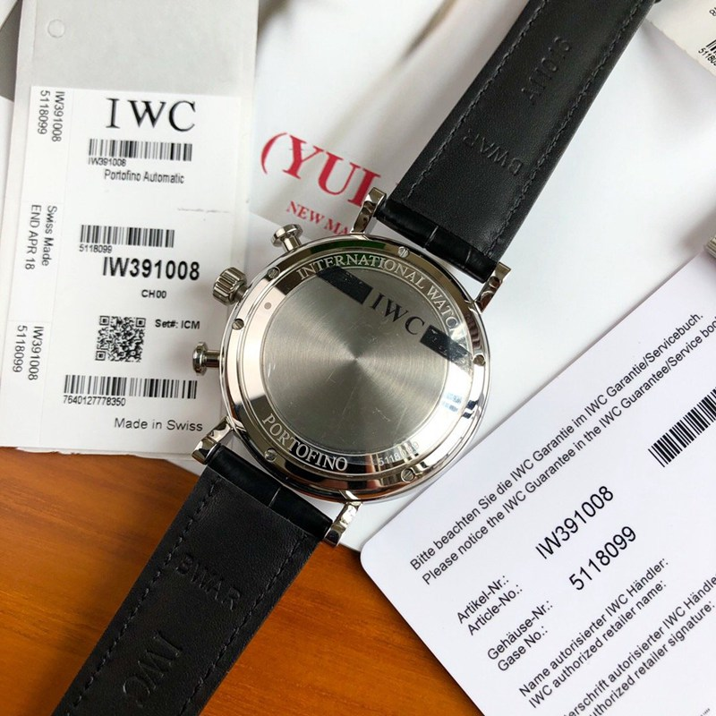 高仿万国原单柏涛菲诺手表瑞士eta7750机芯黑盘鳄鱼皮表带