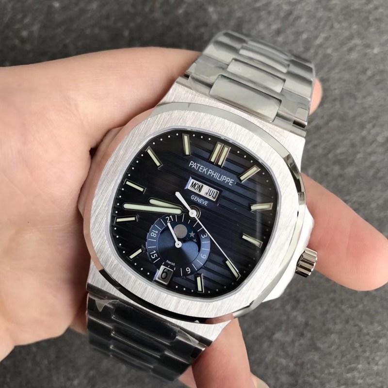 V9百达翡丽顶级精仿鹦鹉螺5726男士机械手表蓝色表盘