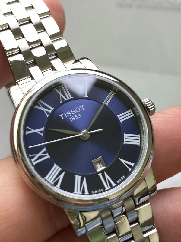 天梭T122原单正品最新款石英超薄情侣对表蓝盘