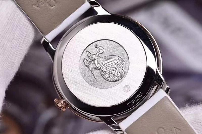 高仿欧米茄女士碟飞系列手表蝶舞32.7mm镶圈钻白盘