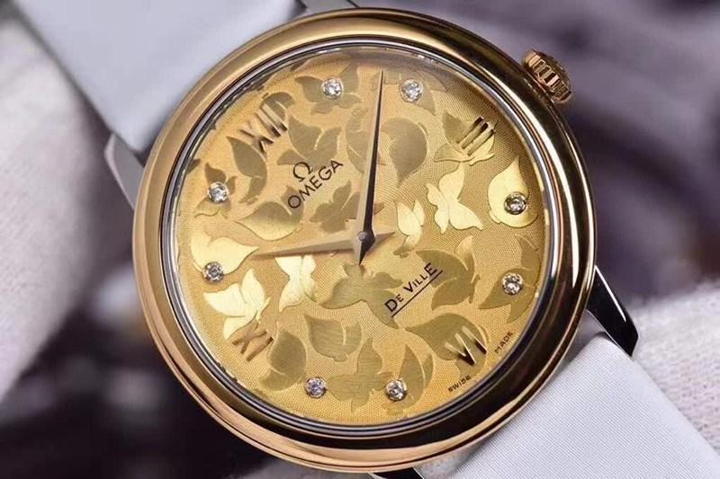高仿欧米茄女士手表碟飞系列黄金色蝶舞32.7mm