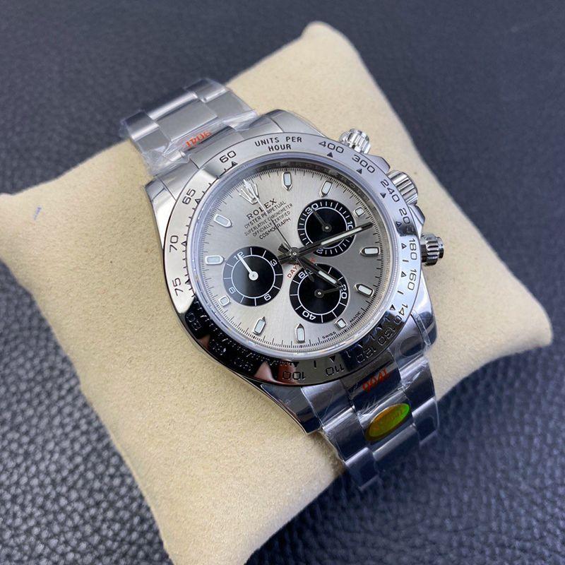 N厂手表劳力士复刻迪通拿4130机芯白金迪钢带灰盘