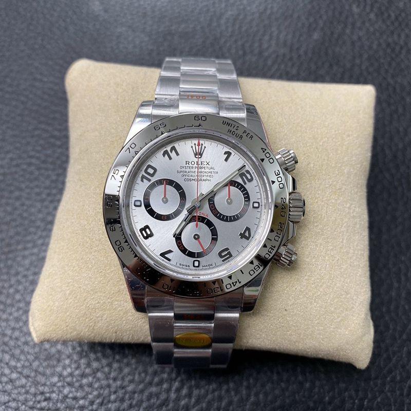 N厂手表复刻劳力士迪通拿4130机芯白金迪钢带款银盘