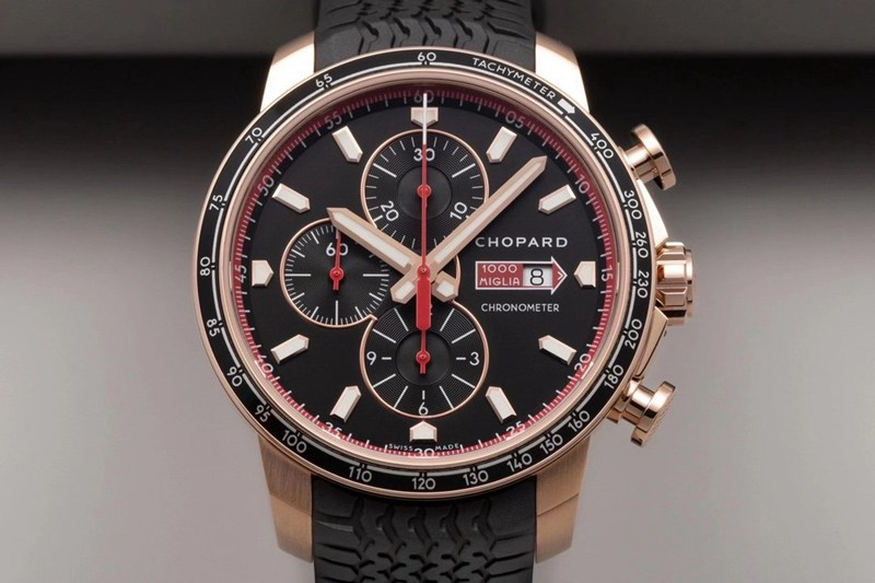 复刻手表萧邦V7厂赛车系列玫瑰金黑盘精品男士机械腕表