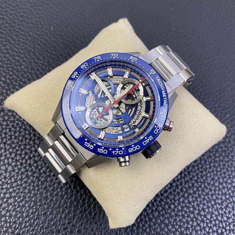 泰格豪雅复刻手表卡来拉-全新骚蓝面镂空机械男士腕表