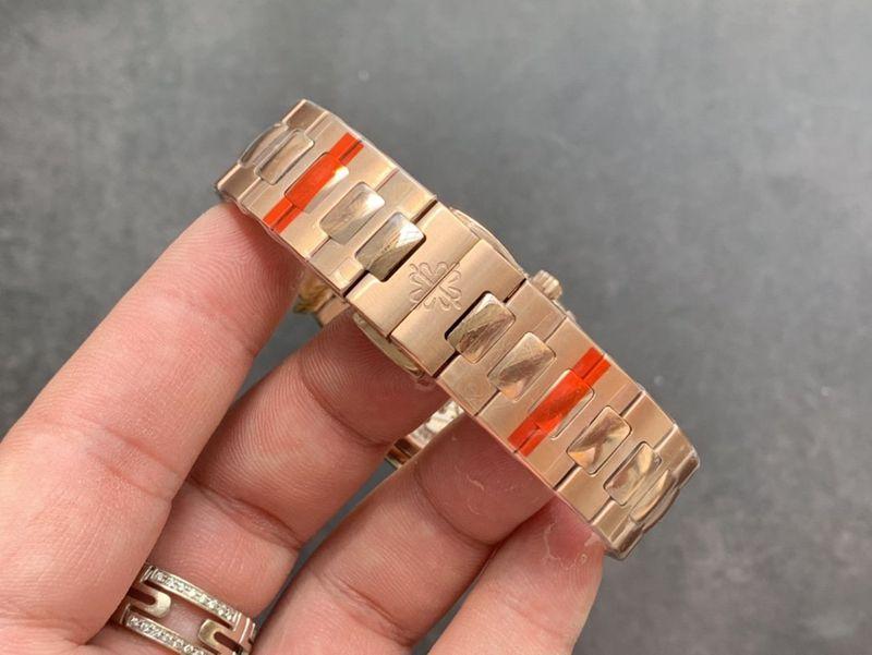百达翡丽复刻手表鹦鹉螺钻圈全玫瑰金女装