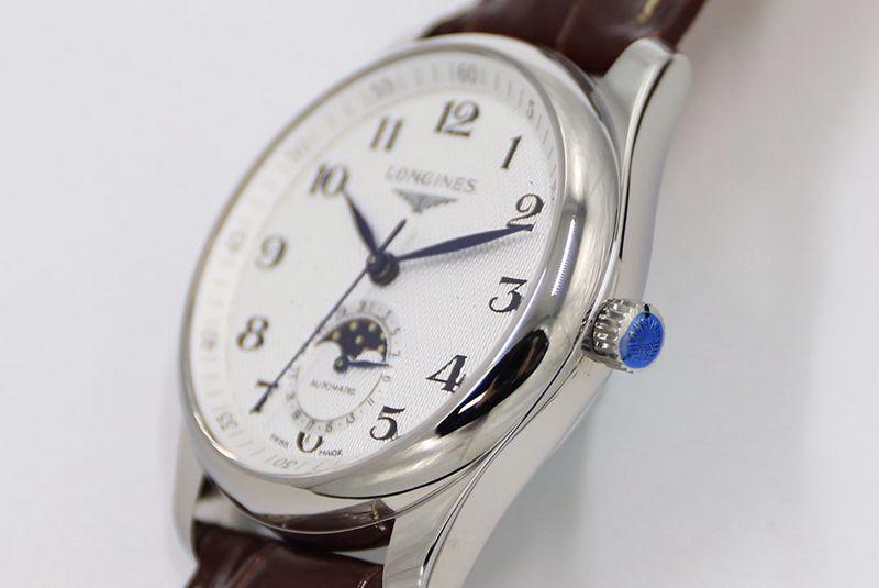 GS浪琴名匠系列月相腕表复刻手表白盘棕色表带