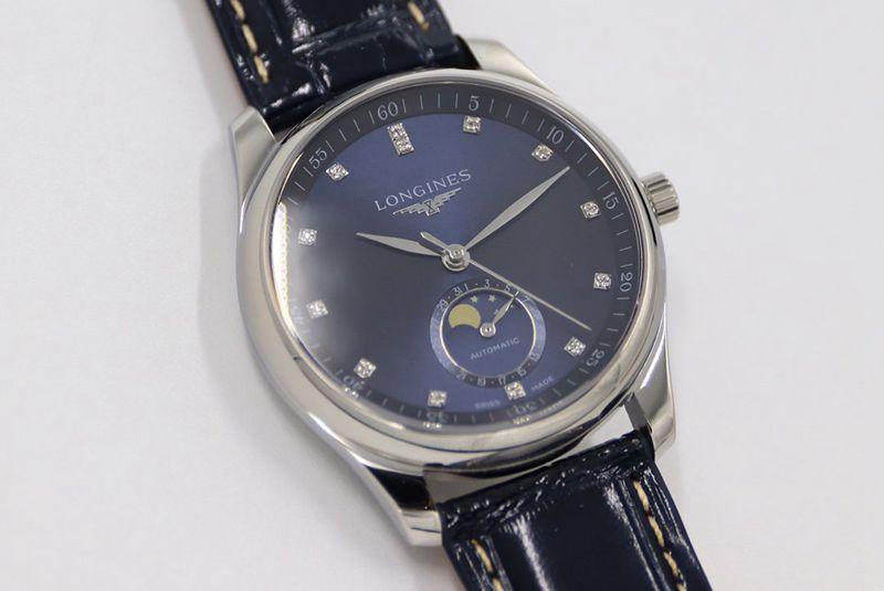GS浪琴复刻手表名匠系列月相腕表蓝盘钻刻度