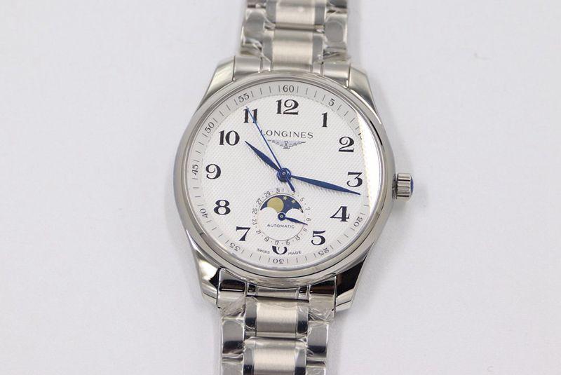 GS浪琴复刻手表名匠系列月相腕表白盘316精钢表带