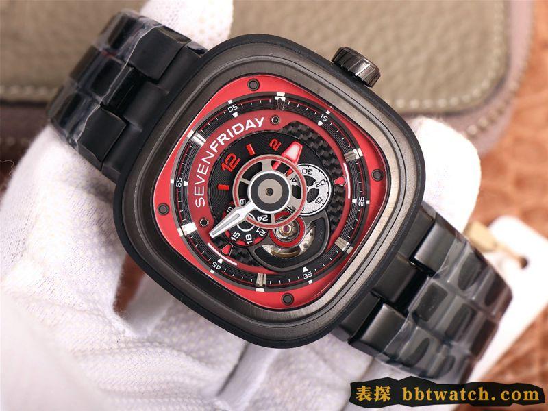 复刻手表七个星期五红黑配色引领潮流SEVENFRIDAY/自动机械男表瑞士钢带大表盘全黑色