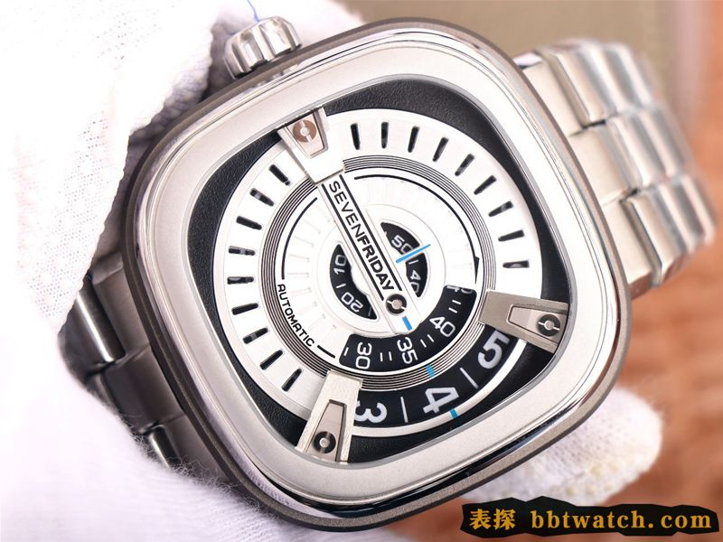 复刻手表七个星期五SEVENFRIDAY/自动机械男表瑞士钢带大表盘白色