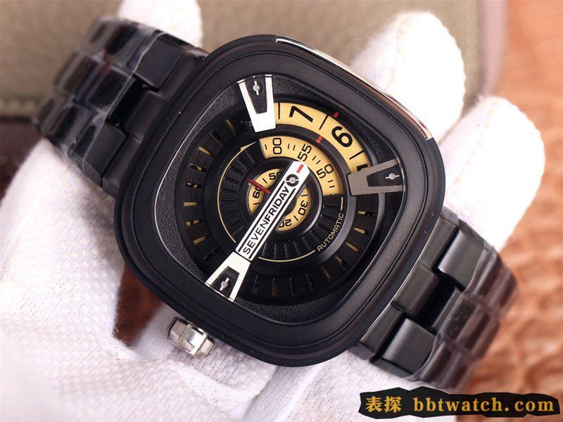 复刻手表七个星期五SEVENFRIDAY/自动机械男表瑞士钢带大表盘全黑色