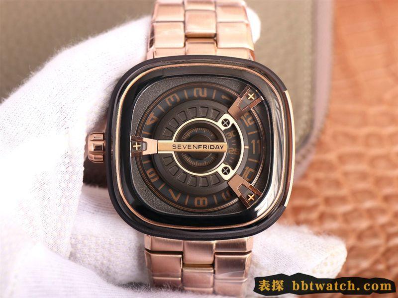 七个星期五复刻手表SEVENFRIDAY/自动机械男表瑞士钢带大表盘玫瑰金色
