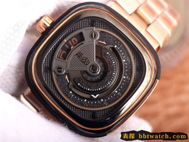 复刻手表七个星期五玫瑰金SEVENFRIDAY/自动机械男表瑞士钢带大表盘