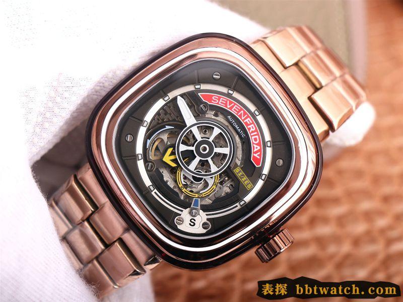 七个星期五复刻手表玫瑰金黑盘SEVENFRIDAY/自动机械男表瑞士钢带大表盘镂空