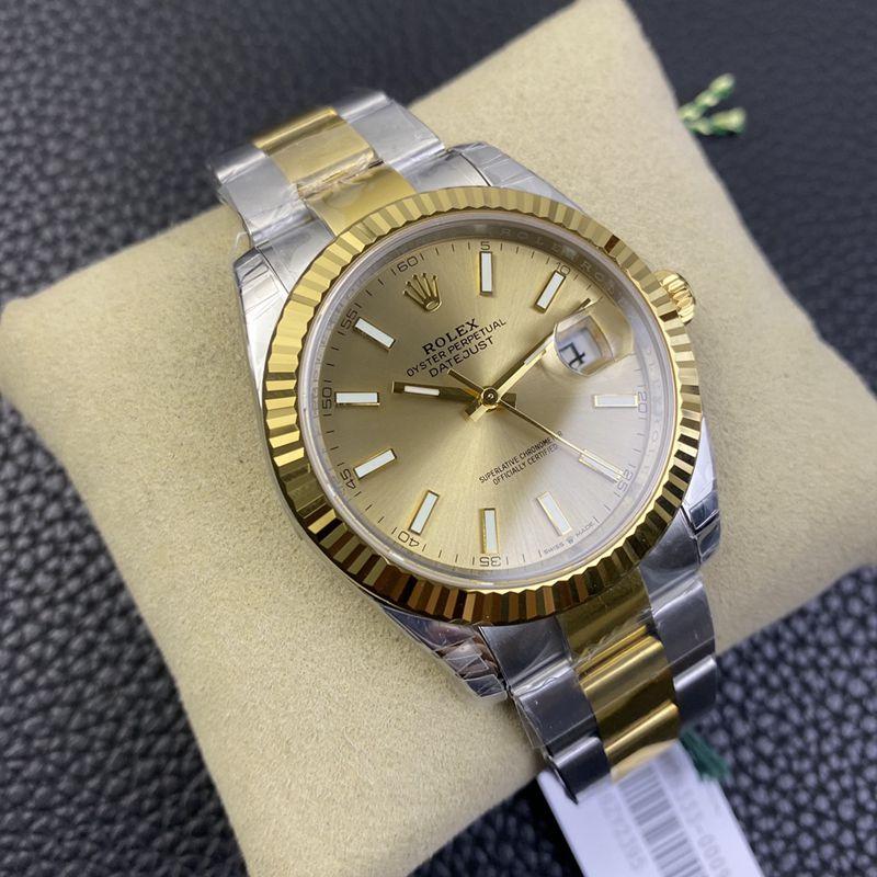劳力士高仿手表间金日志型41MM金盘新款六位小皇冠腕表