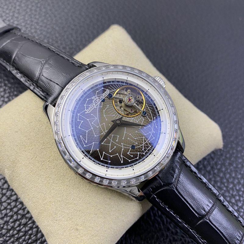 积家高仿手表大师系列轨道飞轮男士机械腕表