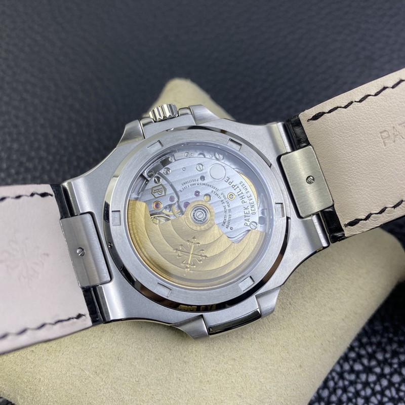 3K顶级百达翡丽复刻手表鹦鹉螺324SC超薄机械灰盘鳄鱼皮