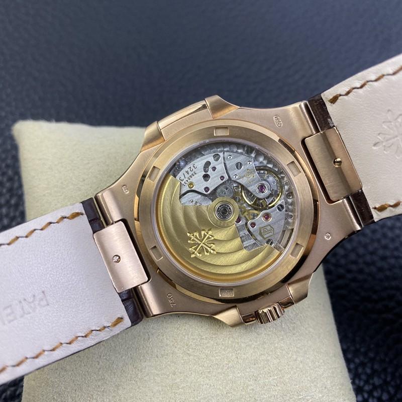 3K顶级百达翡丽复刻手表鹦鹉螺324SC超薄机械玫瑰金鳄鱼皮