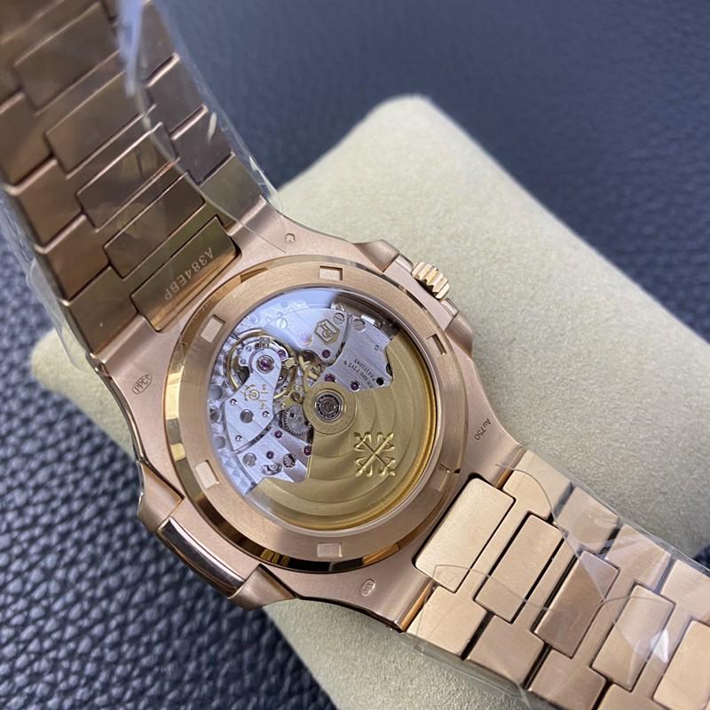 3K顶级百达翡丽复刻手表鹦鹉螺324SC超薄机械玫瑰金咖啡盘
