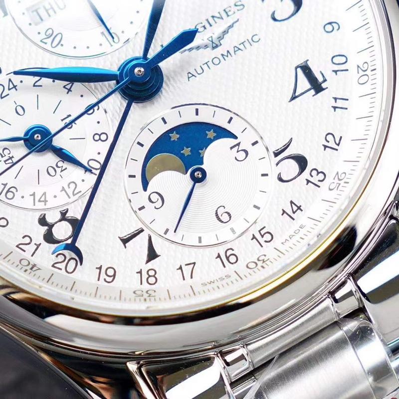 浪琴名匠复刻手表KL八针月相男士多功能钢带机械手表