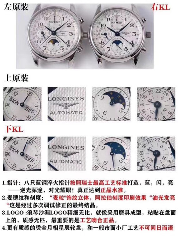 顶级复刻浪琴手表kl厂完美作品名匠八针月相真假对比评测