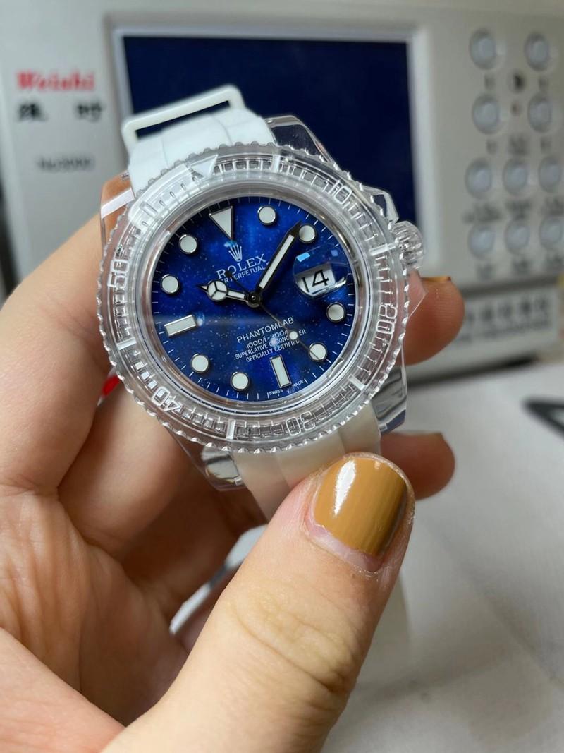 劳力士复刻蓝水鬼透明手表3135机芯蓝面