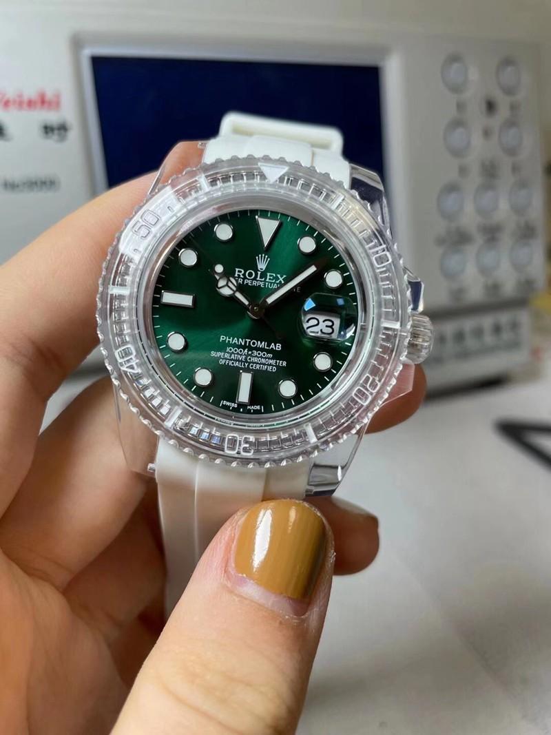 劳力士复刻绿水鬼透明手表3135机芯绿面