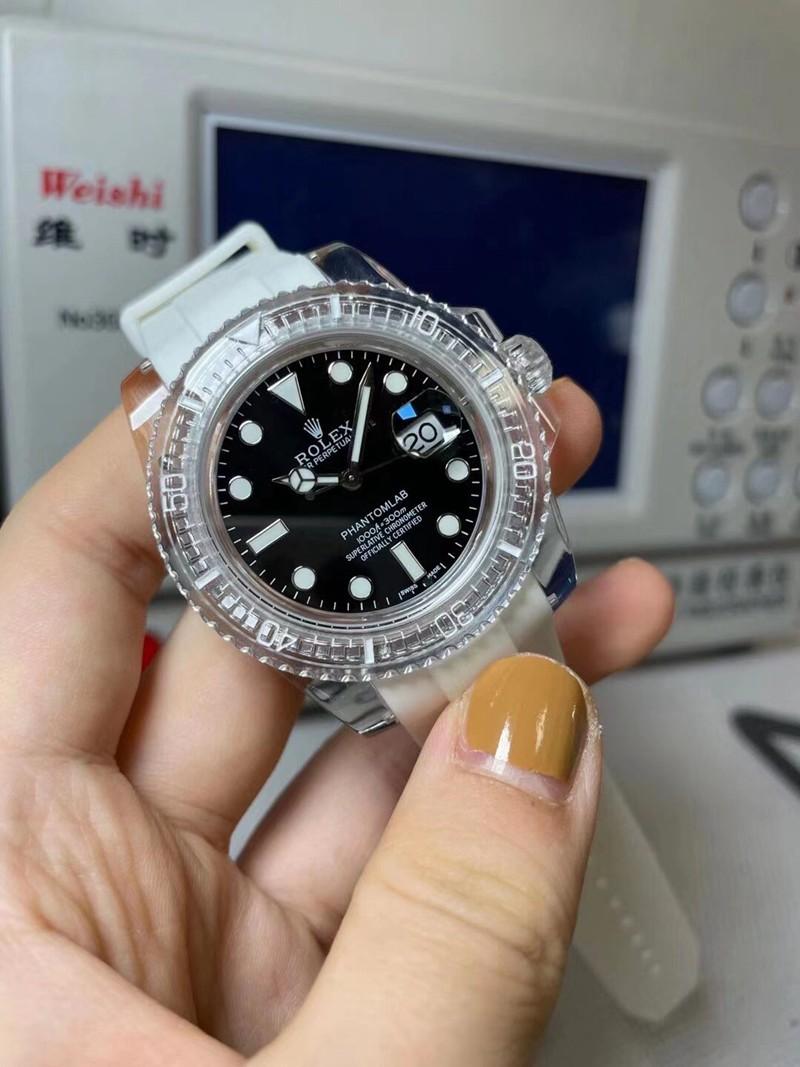 劳力士复刻黑水鬼透明手表3135机芯黑面
