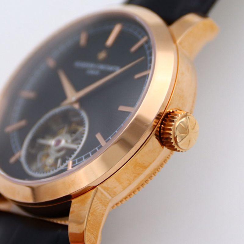 江诗丹顿顶级高仿手表Traditionnelle传袭系列陀飞轮男士黑盘金表腕表