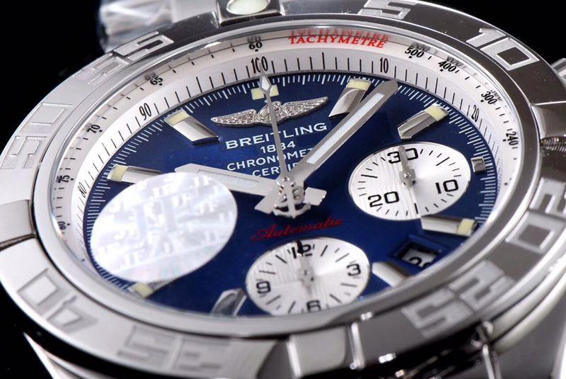 百年灵顶级精仿手表航空计时系列AB011011男士钢带蓝盘机械手表