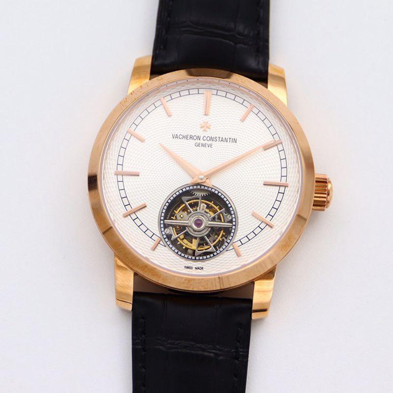 江诗丹顿顶级高仿手表Traditionnelle传袭系列陀飞轮白盘皮带男士金表腕表