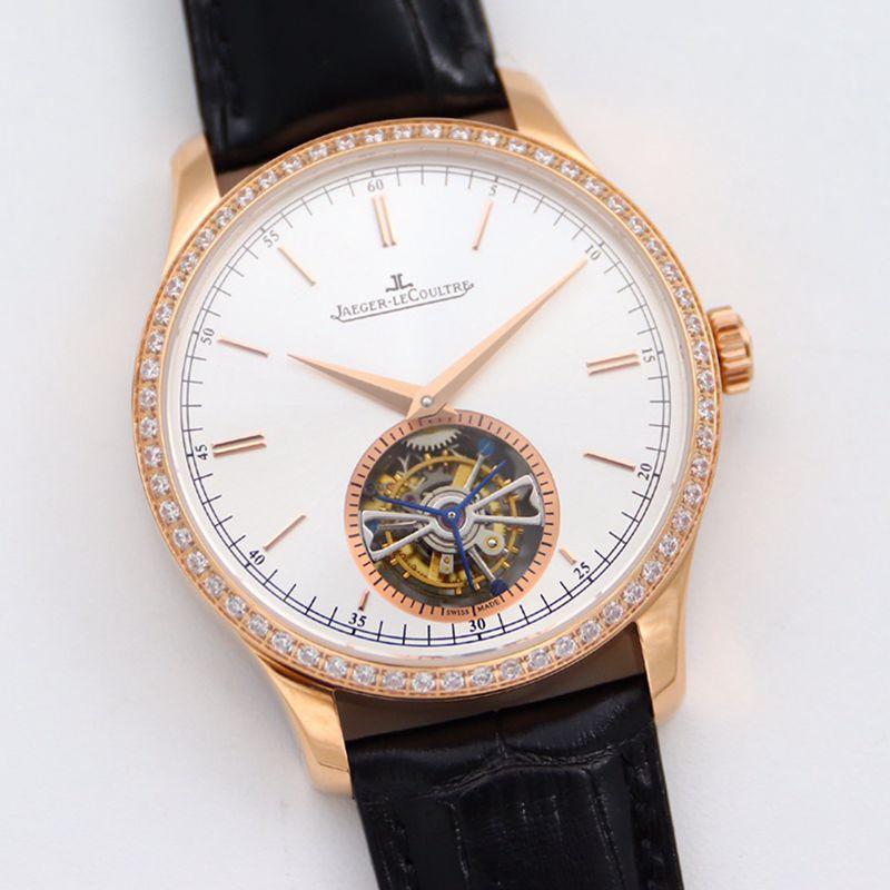 积家大师顶级精仿手表1662451系列自动真陀飞轮男士钻石金表白盘腕表