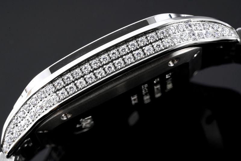 卡地亚顶级高仿手表山度士系列女士钢带钻石白盘腕表