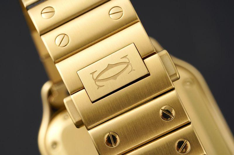 卡地亚顶级高仿手表山度士系列女士钢带白盘钻石金表腕表