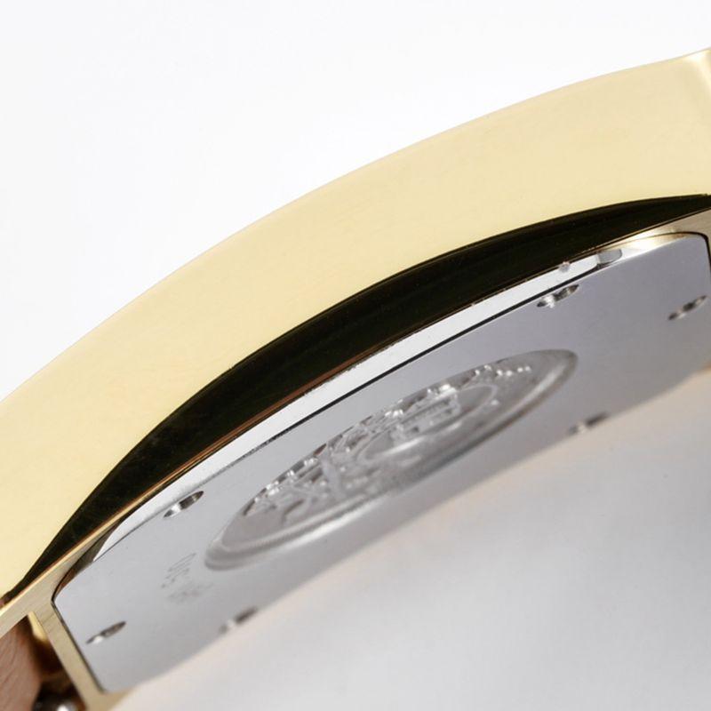 爱马仕女表顶级精仿HeureH系列石英方形时尚手表土黄色表带玫瑰金盘