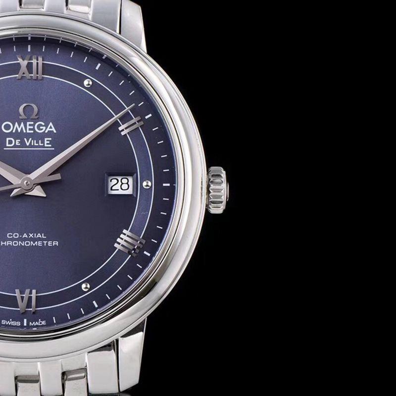 欧米茄复刻手表碟飞系列男士机械超薄手表轨道蓝面